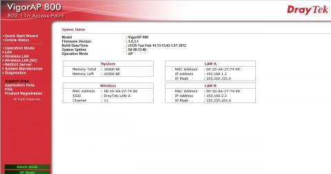 Draytek Vigor AP800 Admin Setup